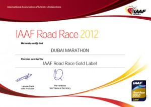 A Gold Label certification. Image courtesy: www.dubaimarathon.org