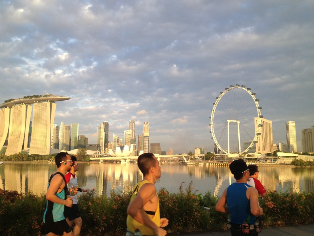 Amazing sunrise shot taken from Gardens By The Bay east during NESTLÉ® OMEGA PLUS® ACTICOL® Love Your Heart Run.