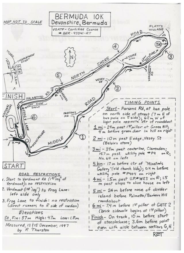 A measured course map. The Bermuda 10k.