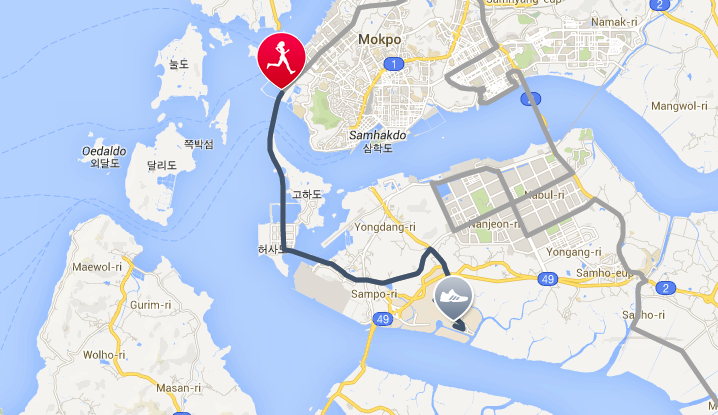 Wings For Life World Run 2014: Jeonnam, South Korea route,