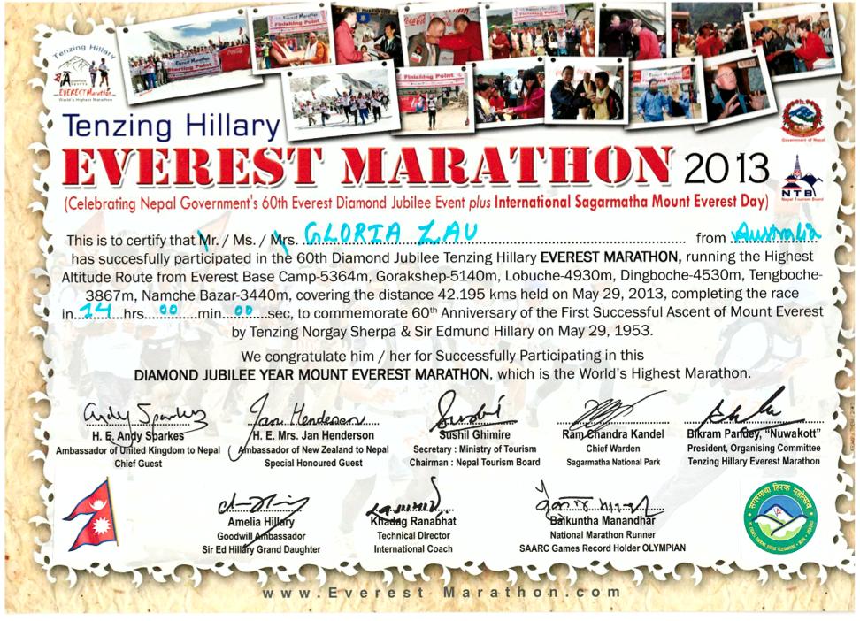 everest marathon 2013 certificate