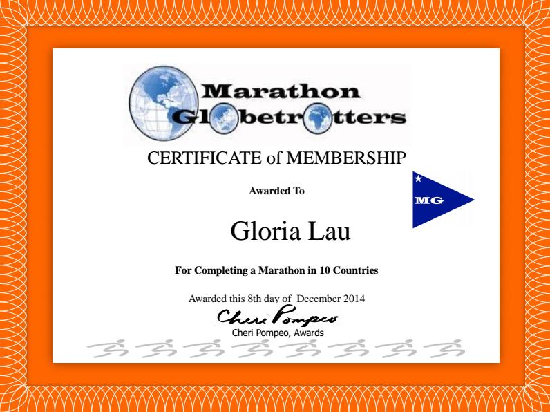 marathon globe trotters certificate