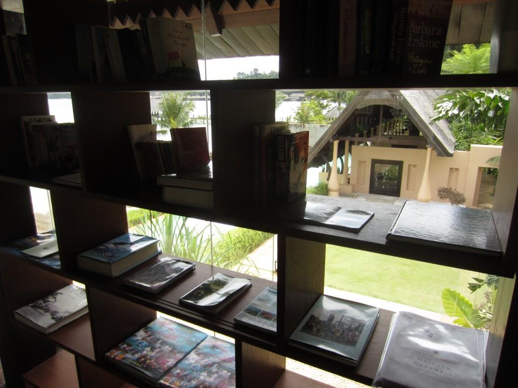 Amazing reading library at Gaya Island Resort.