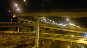 The complex Metro Skyway road system.
