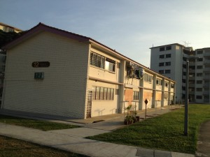 One of the old HDB buildings along the west bank of the river