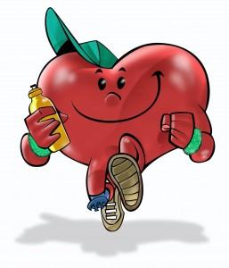 Cartoon of exercising heart