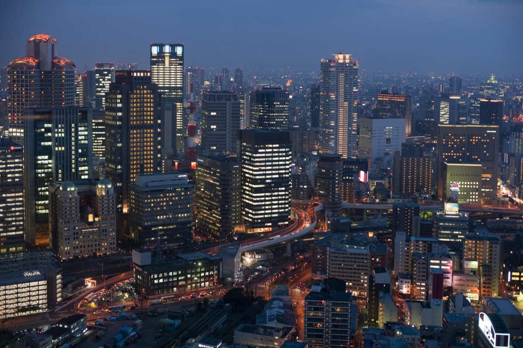 Osaka city by night. image by freeimageslive.co.uk - photoeverywhere