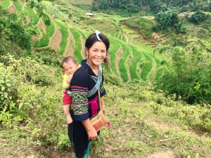 Hmong women hiked with us while carrying their babies!