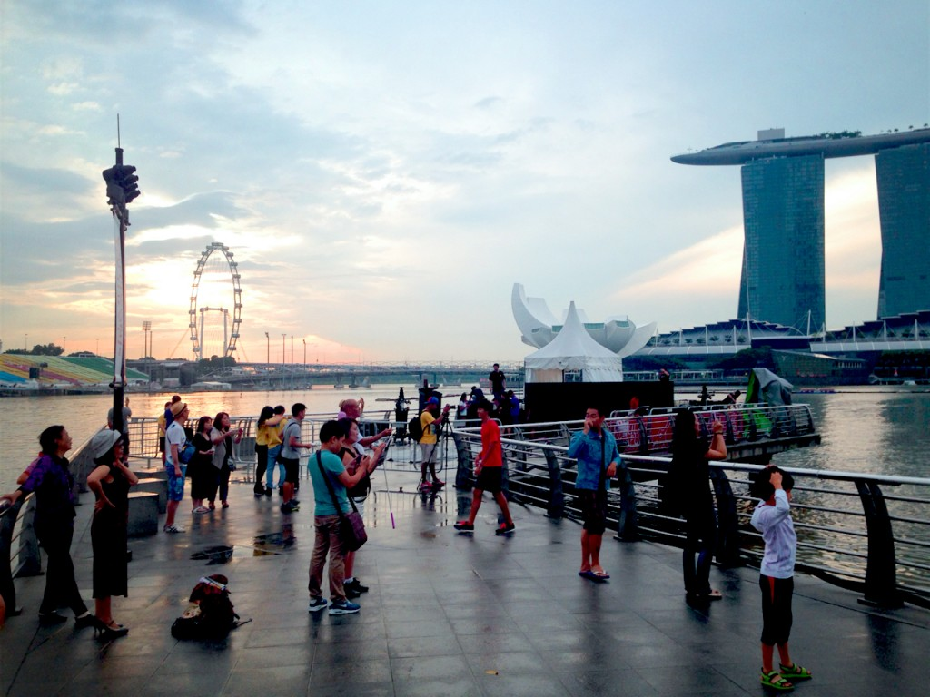 It's 730am in the morning and there is already a crowd at the normally deserted Merlion Park