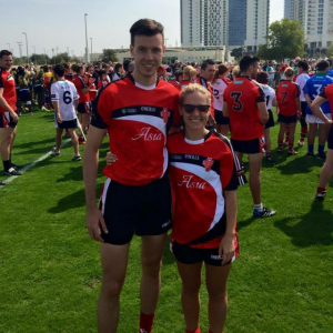Liam and Máire at the First ever World Gaelic Games held in Abu Dhabi in March 2015, both representing Asia.