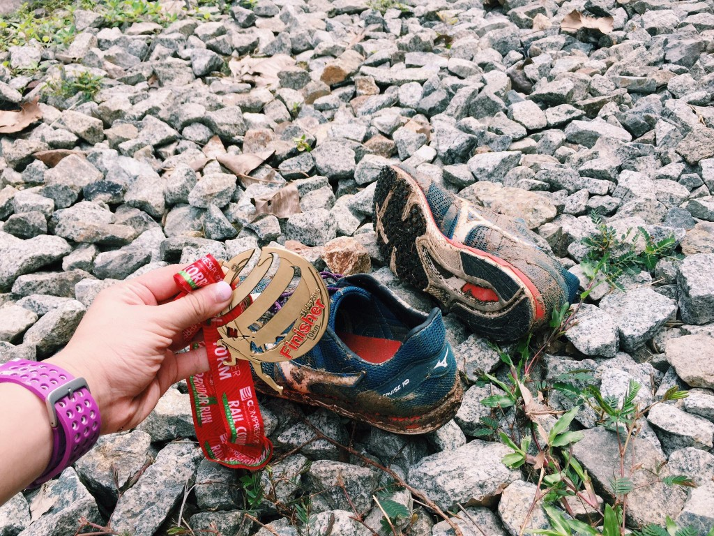Muddy and soaked shoes
