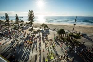 GCAM15 42km runners passing through Surfers Paradise