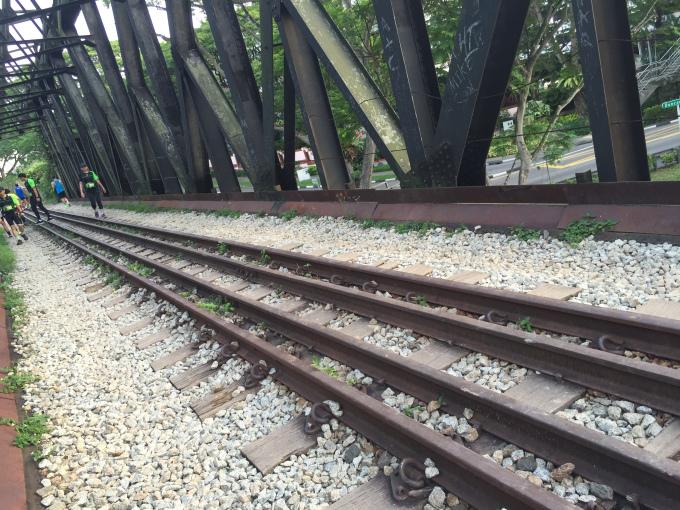 Tracks along the bridge