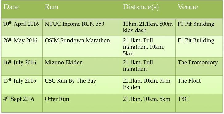 Summaries of 21K races in Singapore