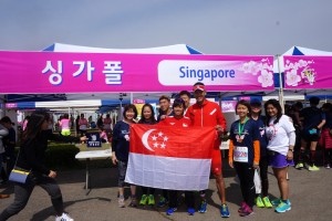 Some of the Singaporean runners who participated in the Gyeongju Cherry Blossom Marathon