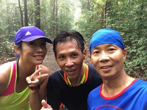 Bumped into pacer-runner pair of William Muk (pacer) and Amy Khor somewhere in the trails