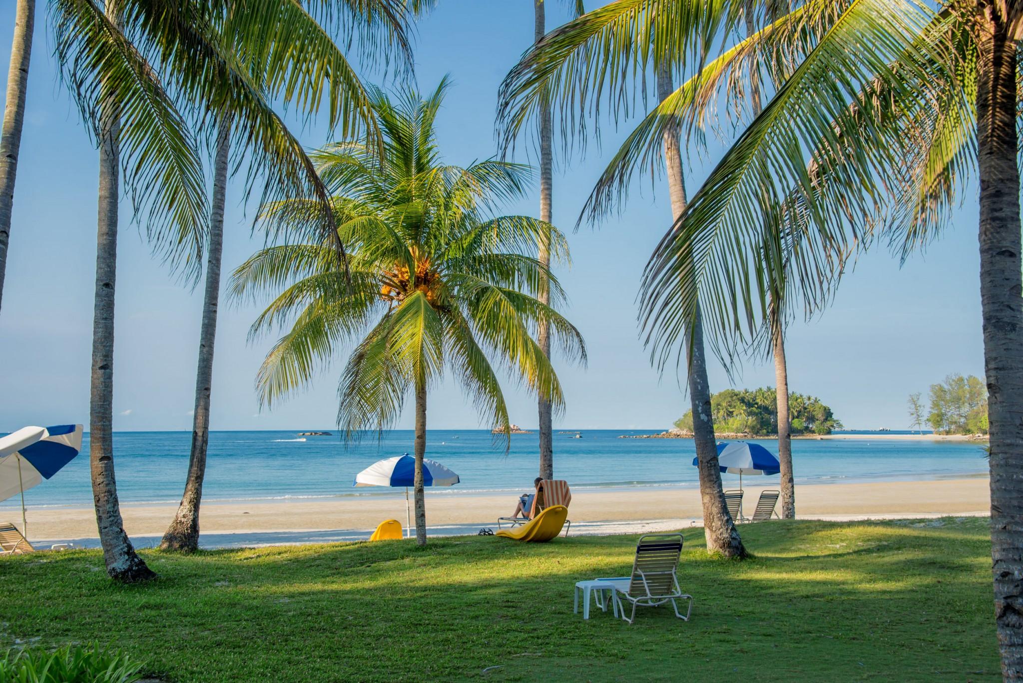 Bintan Tropical beach landscape with palm trees