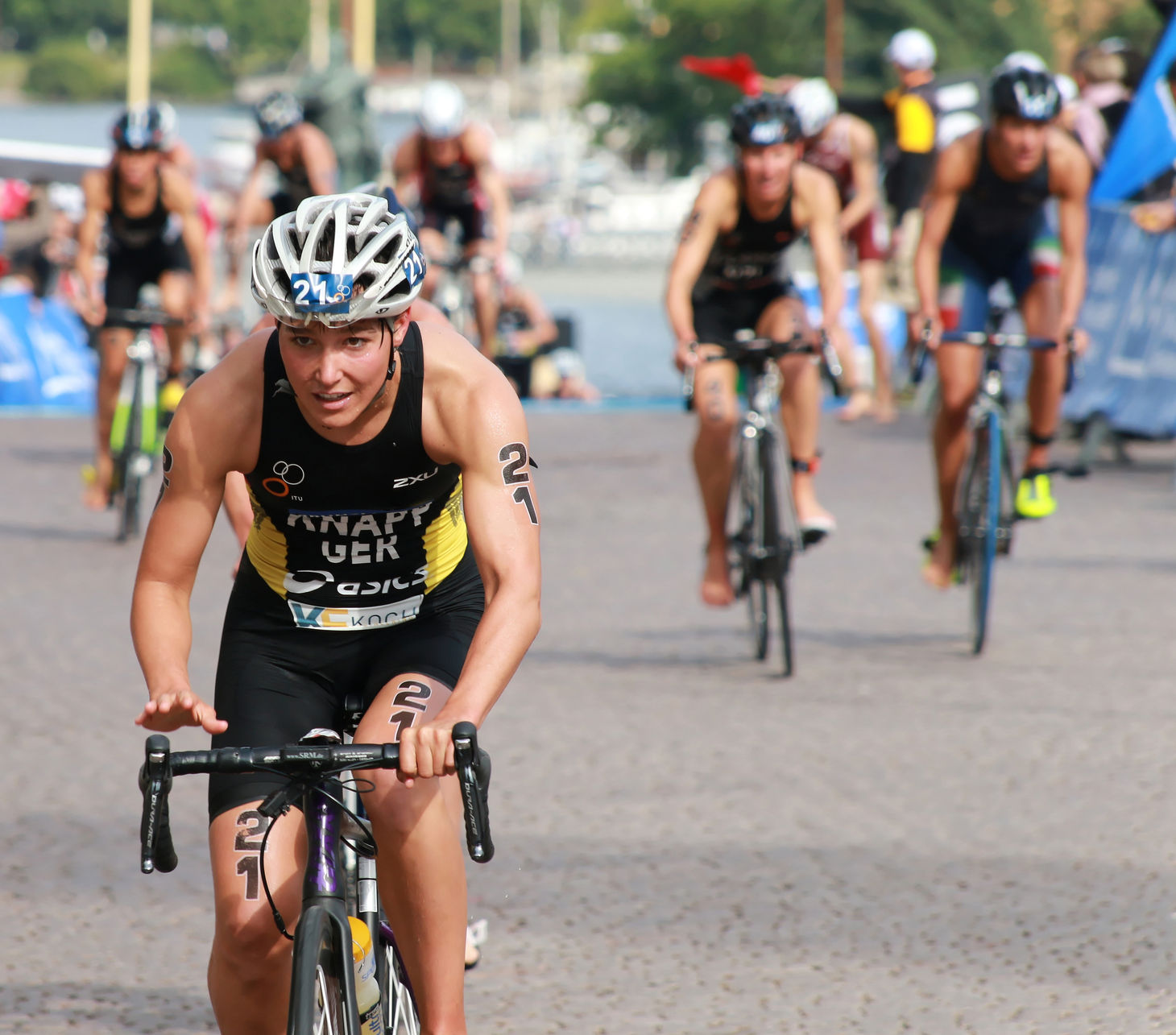 Triathletes cycling