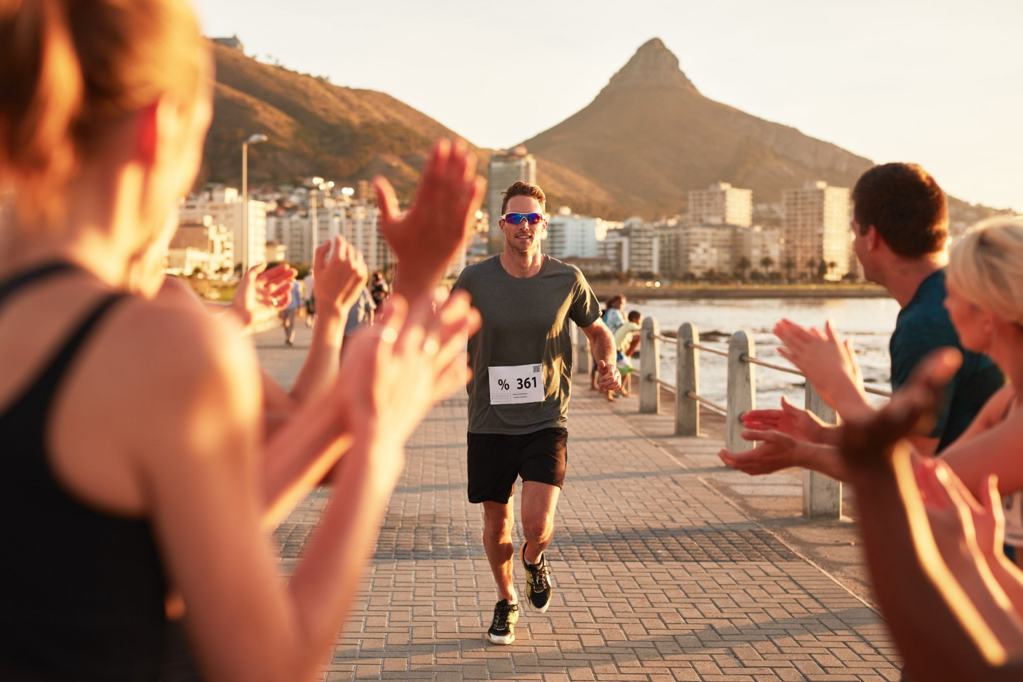 runner approaching finish line