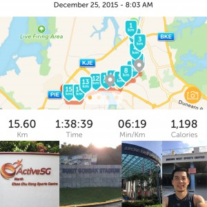 Managed to complete my 15km from CCK Stadium to BG Stadium to JE Stadium to JW Stadium! But didn't manage to run last 17km from JW Stadium to Jurong Stadium to Clementi Stadium to Queenstown Stadium as my legs can't take it anymore.  I still thank God for my morning Christmas run! Blessed Christmas! God bless you. - by Louis Phua