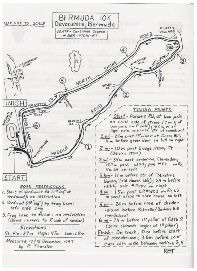 A measured course map. The Bermuda 10k.