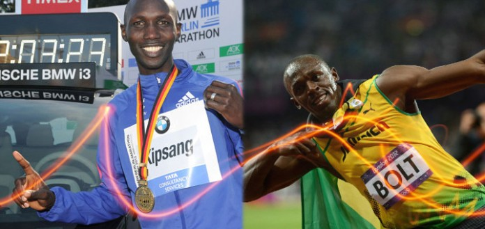 Wilson Kipsang and Usain Bolt record holders for Marathon and 100 m