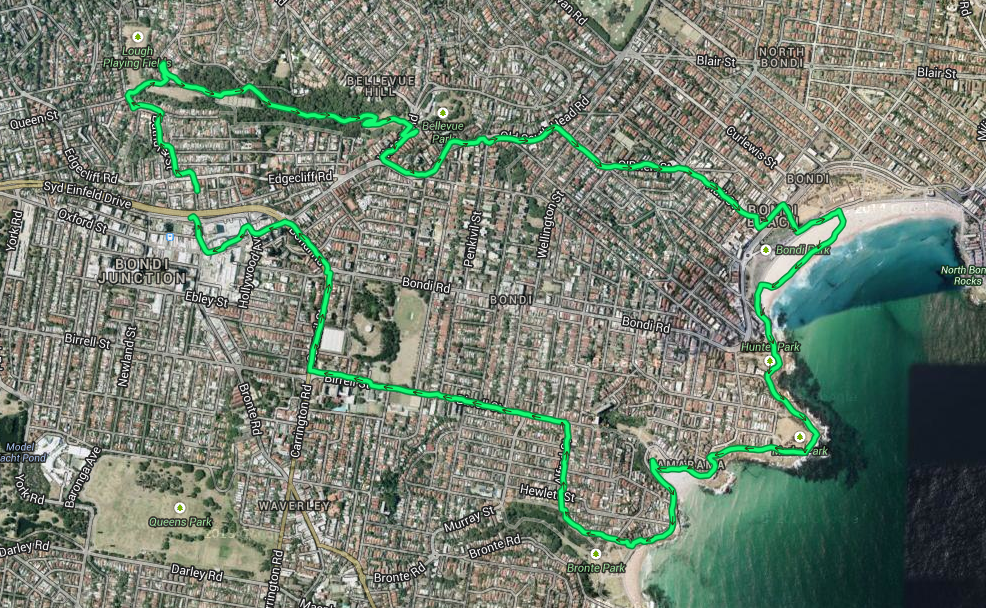 bondi beach sydney running route map
