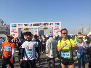 Finishing line of the Tokyo Intl Marathon 2014