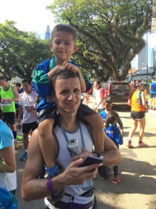 Stan with his son who participated in the Kids Dash.