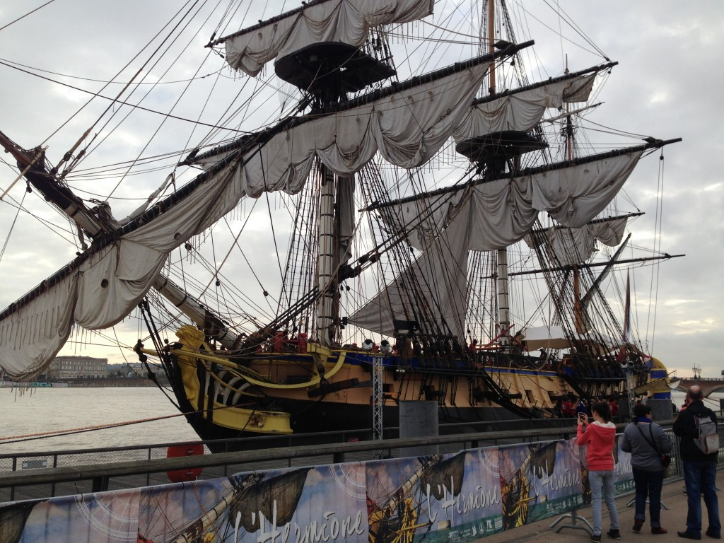 a life-size replica of the Hermione, the French navy frigate that shipped General Lafayette to America to rally rebels fighting British troops in the US war of independence