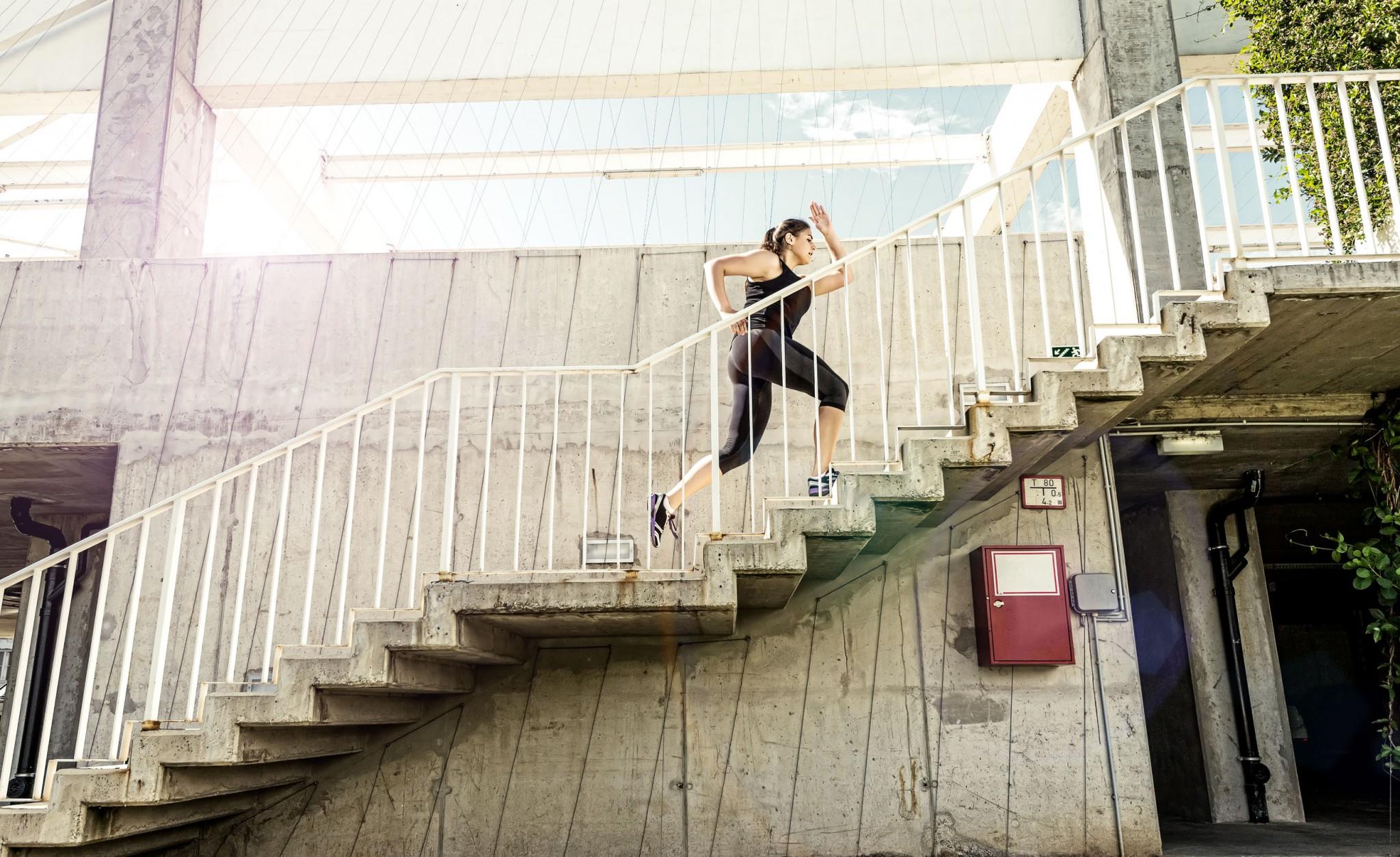stairs running urban woman