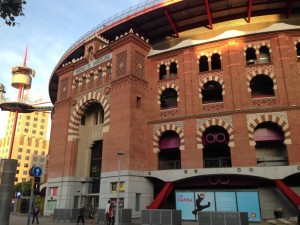 A historical bullfighting ring revamped into a modern mall