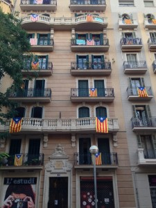 Catalonia flags all round