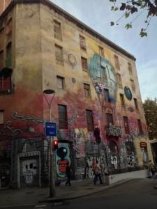 Graffiti laden building.