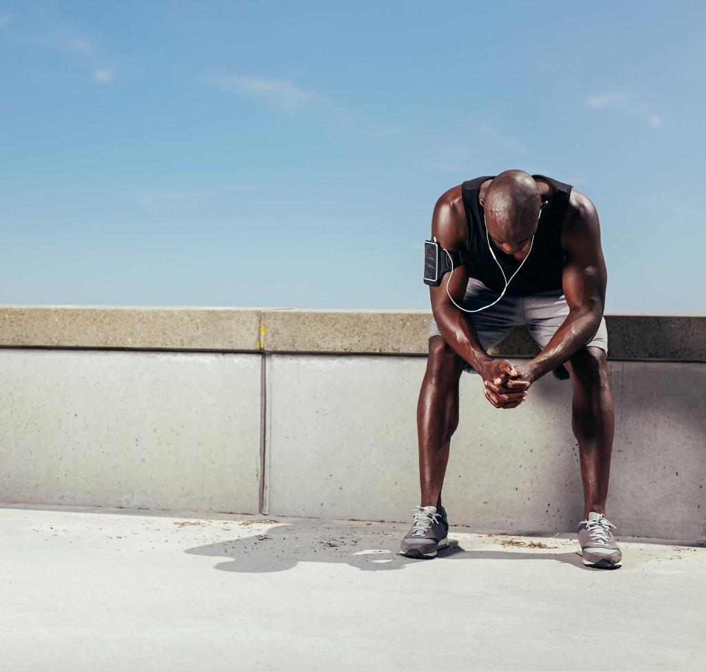 black man runner tired