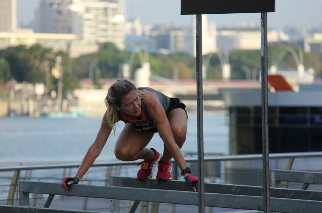 Completing parallel bars during the Urbanathalon 2015 (Top 4 Females)
