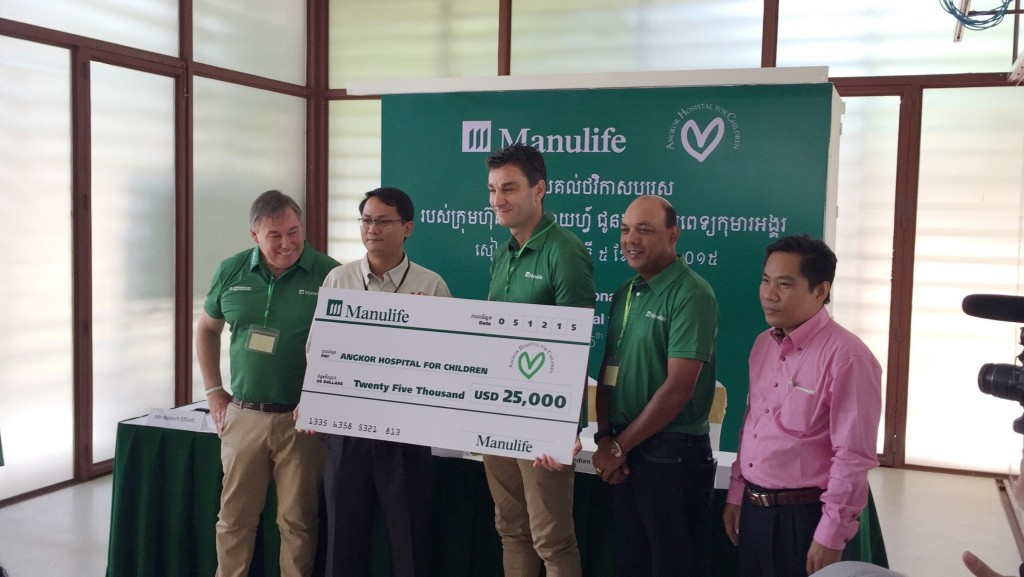 Cheque presentation from Manulife to Angkor Hospital for Children