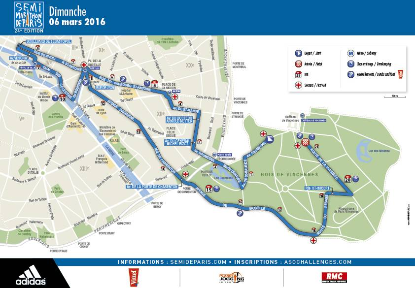 SemiMarathon De Paris Just Run Lah - Paris map 2016