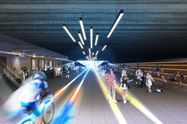 "One section of the corridor passes under a viaduct and will become a ""passage of light"" with interactive lighting."