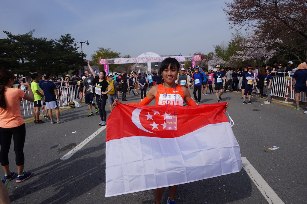 Mok Ying Rong after finishing first in Half Marathon