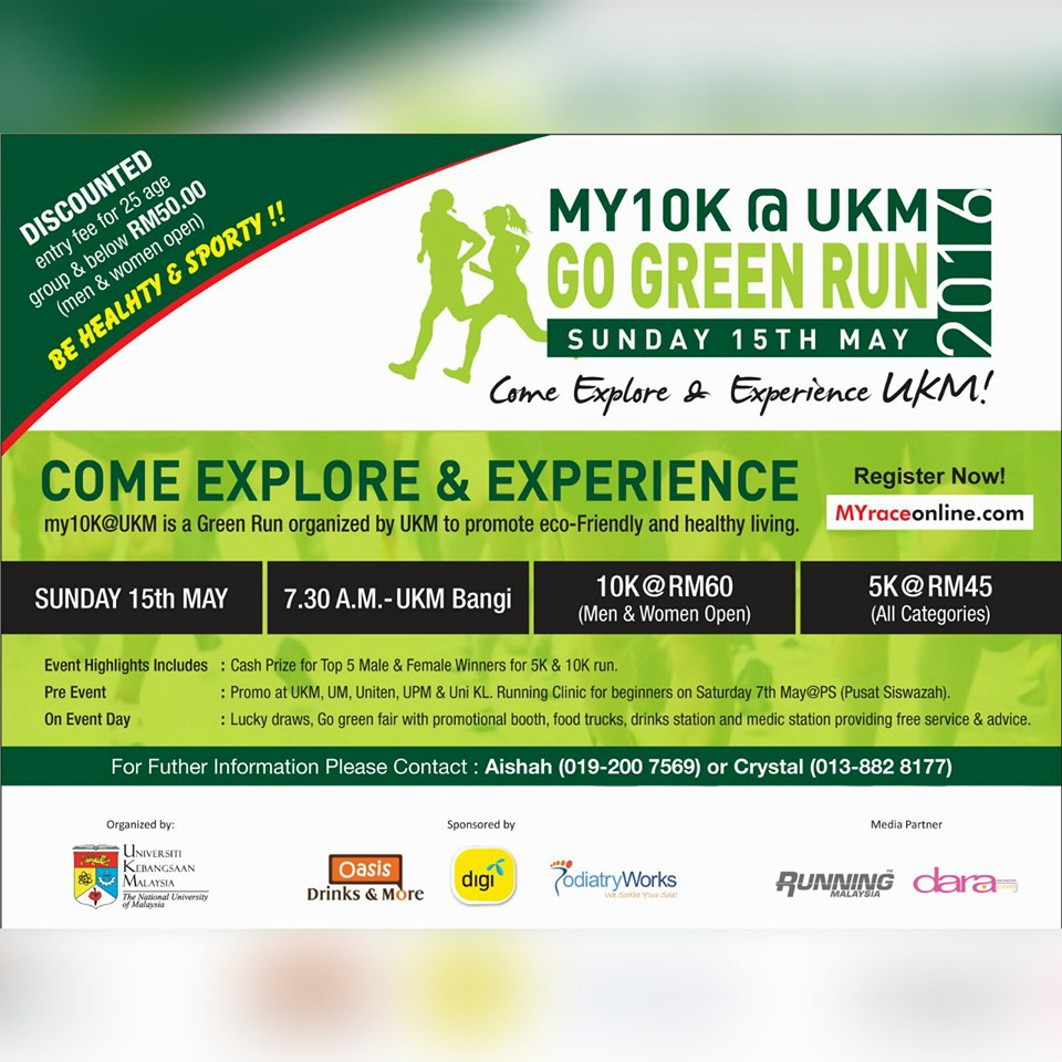 MY10K@UKM Go Green Run 2016