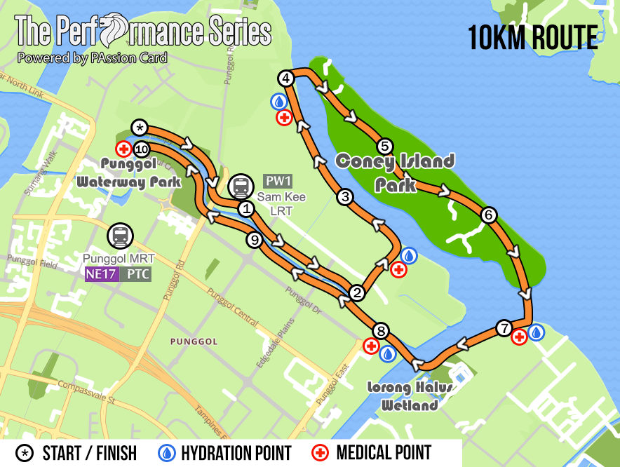 The 10km race route. Credit to The Performance Series.