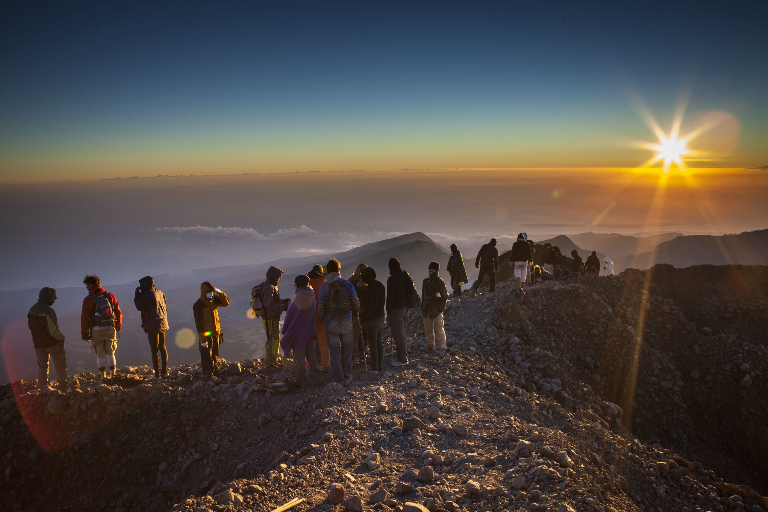 The top of Rinjani Mt 3,726m Lombok island, Indonesia - August 12, 2012