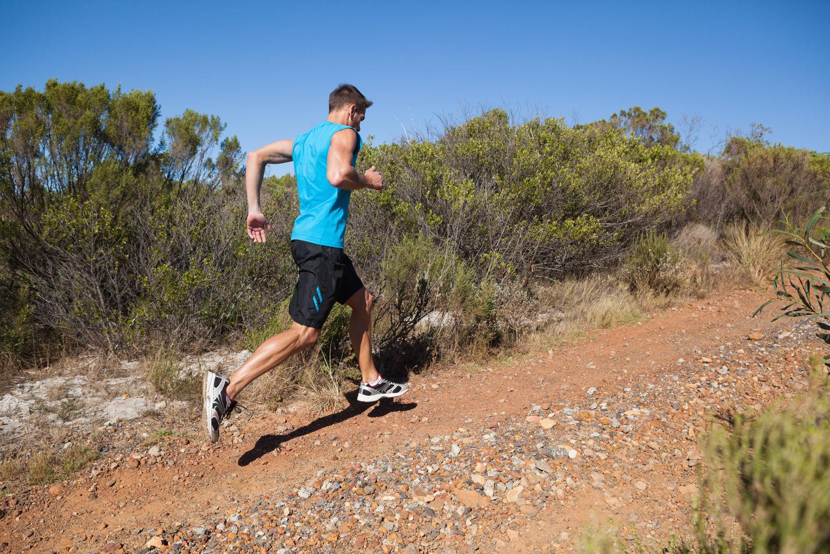Trail running uphill