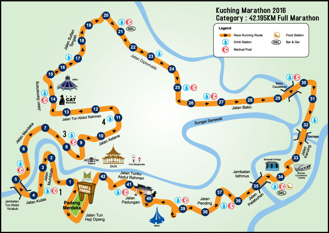 kuchingmarathon2016map