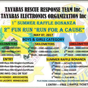 Tayabas RESCUE Response Team & Tayabas ELECTRONICS Organization Inc. Run for a Cause 2017