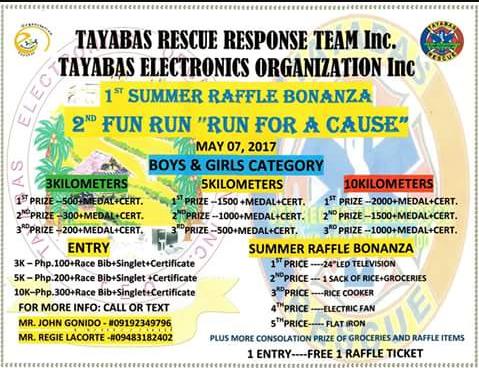 Tayabas RESCUE Response Team & Tayabas ELECTRONICS Organization Inc. Run for a Cause 2017
