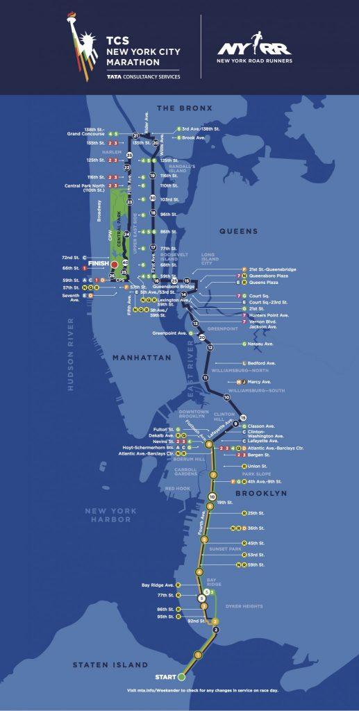 NYC Marathon Course Map