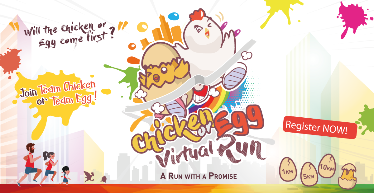 Logo of Chicken Or Egg Virtual Run: Run to feed the hungry 2020