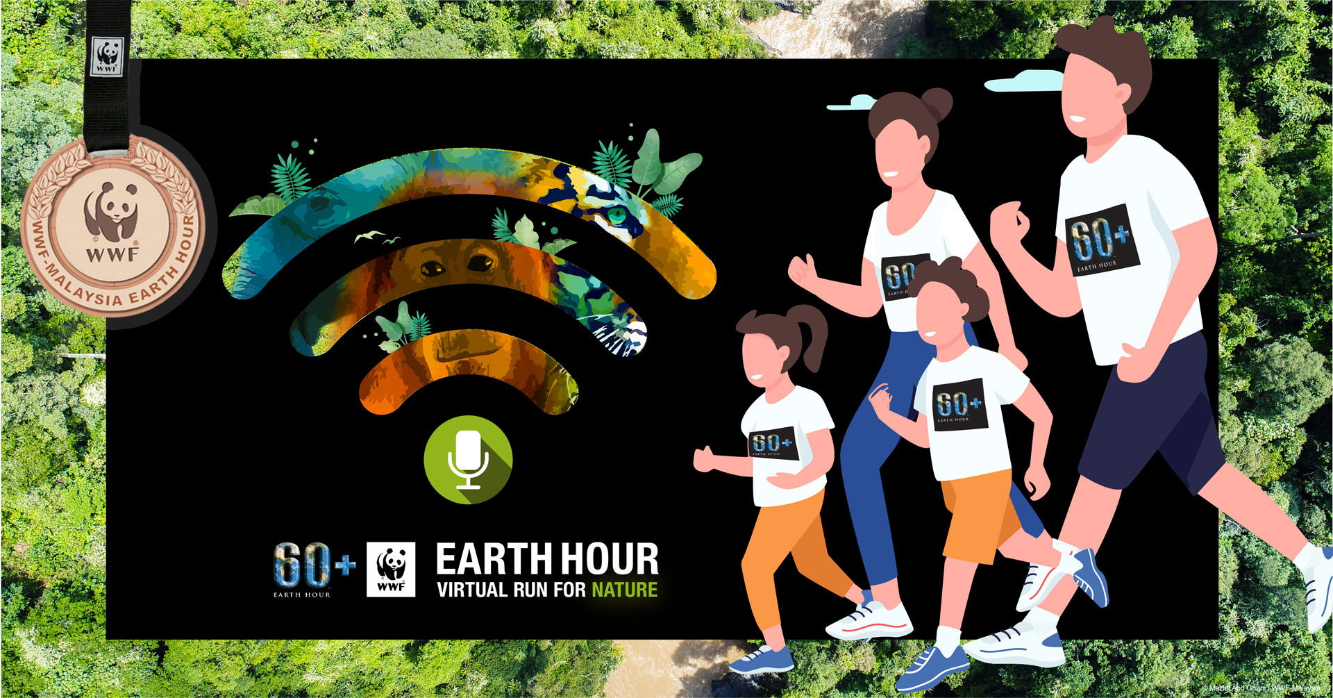 Logo of Earth Hour Virtual Run for Nature 2021